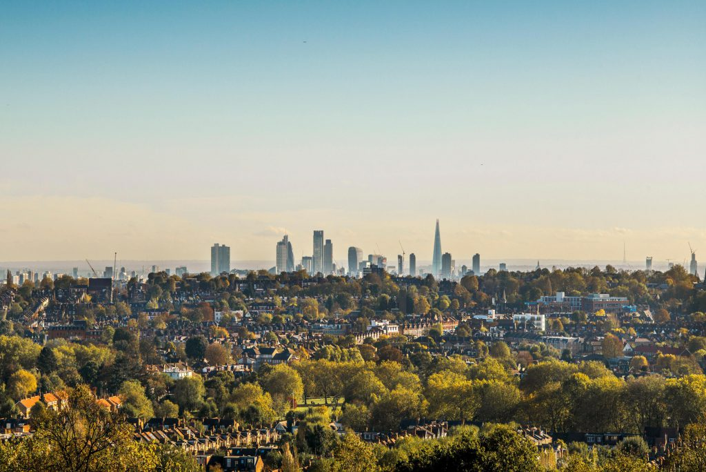 The London skyline from Alexandra Palace.
